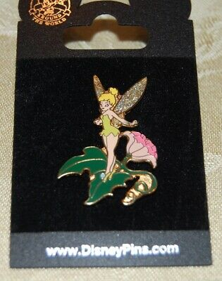 Disney Tinkerbell Landing On Leaf Jeweled Wings Disneyland Pin From 2000