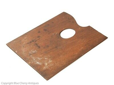 Antique Mahogany Wood Artists Travelling Size Traditional Art Paint Palette