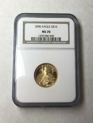 2006 $10 Gold 1/4 Oz Gold Eagle NGC MS70 Mint State Highest Coin Grade Perfect!