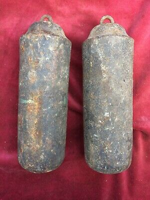 Pair Of Cast Iron Weights For Long Case Clock