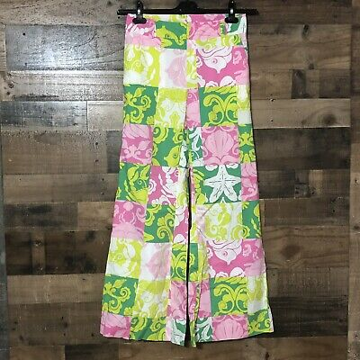 LILLY PULITZER Wide Leg Cotton Stretch Pants Color Block Print Beach Fish 2