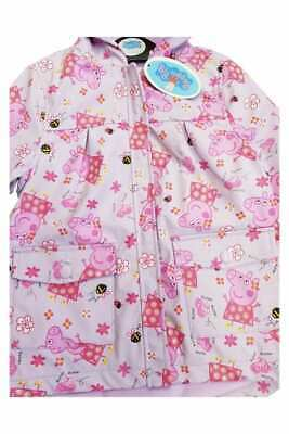 Peppa Pig girls Mac rain coat fleece lined pink hooded