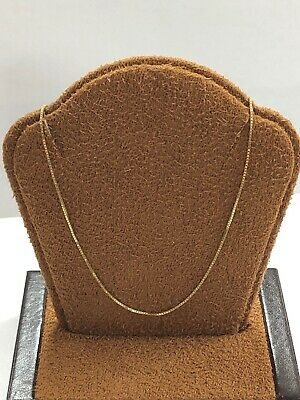 """Gorgeous 14KT Yellow Gold Box Chain Necklace - 18"""" Long - 1 MM Wide"""