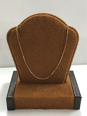 """Well Made 14KT Yellow Gold Box Necklace Chain - 18"""" Long - 1 MM Wide"""