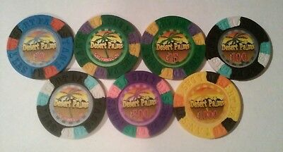 Desert Palms Casino Las Vegas, Nevada 7 Fantasy Chips Great For Any Collection!