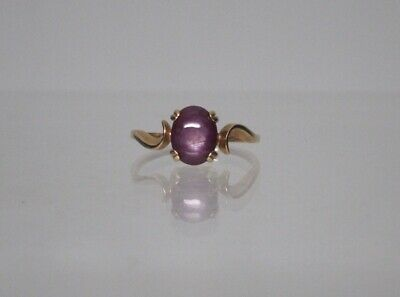 14K Solid Yellow Gold Cabochon Red Purple Star Sapphire Cocktail Ring Size 8