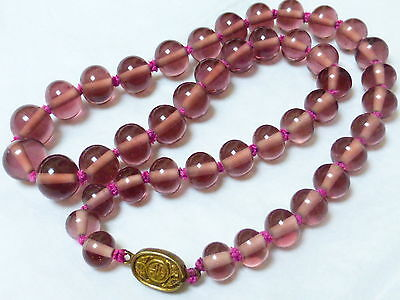 Chinese Vintage Amethyst Colored Peking Glass Beads Necklace