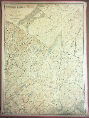 LARGE 3-ft Linen-Backed Antique Map Northeastern Highlands, New Jersey, 1888