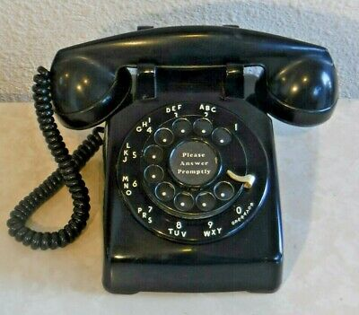 Bell System Western Electric 5302 G Black Desk Set Telephone with F1 Handset