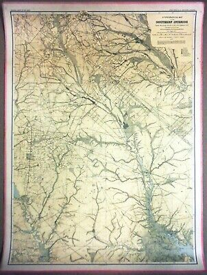 LARGE 3-ft Linen-Backed Original Antique Map Southern Interior New Jersey 1888