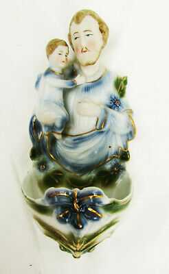 Holy Water font St. Joseph with baby Jesus vintage porcelain Japan