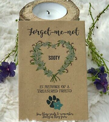 Personalised Forget-me-not Seeds Loving Memory Garden Remembrance Pet/Dog/Cat X5