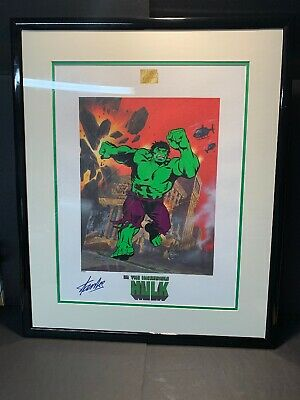 Marvel Comics THE INCREDIBLE HULK Art Lithograph Signed Stan Lee with COA