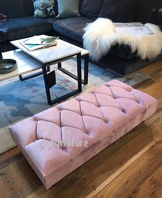 * BRAND NEW!  Bench, footstool, seat, velvet upholstered PINK seat with legs
