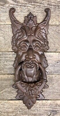 "Cast Iron Large Gothic Face Vintage Brown-Tone Door Knocker, 19"" x 7"""