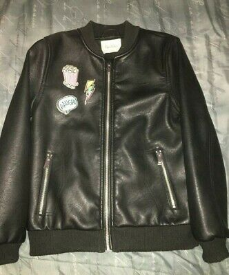 Zara Girls Bomber Style Leather Jacket Size 9/10