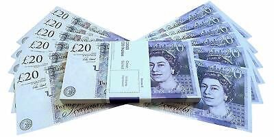 Movie Prop 100X 20 Notes Realistic UK Pounds Money Look Like Real Fake GBP Cash