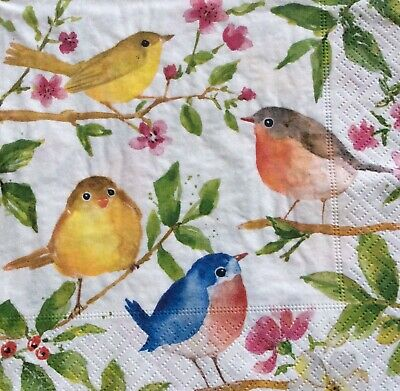 3 Paper Napkins for Decoupage / Parties / Weddings - Birds and blossoms