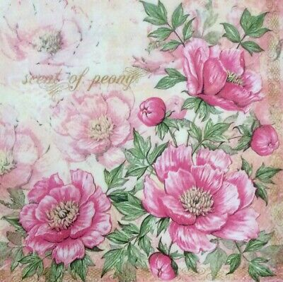 3 Paper Napkins for Decoupage/Parties/Weddings - Vintage peonies