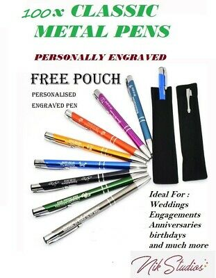 100 X Personalised Custom Engraved Promotional Metal Pens Wedding Business Bulk