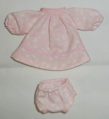 LONG SLEEVE DRESS (Pale Pink / White Hearts) to fit your Suzy Cute doll – New!