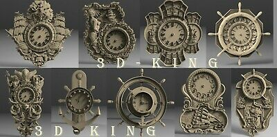 9 Pcs 3D STL Model # WALL CLOCKS SEA THEMES# for CNC 3D Printer Engraver Carving