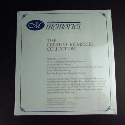 Creative Memories 12x12 Clear Page Protectors 15 Sheets For Models CM-12B CM-12