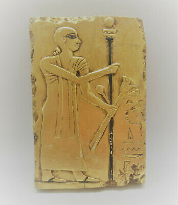 Beautiful Ancient Egyptian Gold Gilded Stone Relief With Depiction Of Servant