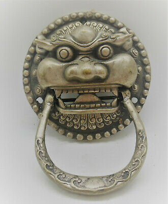 Superb Ancient Near Eastern Silvered Door Knocker In The Form Of A Beast