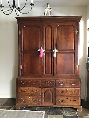 Antique Georgian Old English Country Oak Coffer Housekeeper Cupboard Chest Hall
