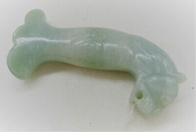 Beautiful Antique Chinese Jade Stone Sword Handle With Lion Pommel Rare