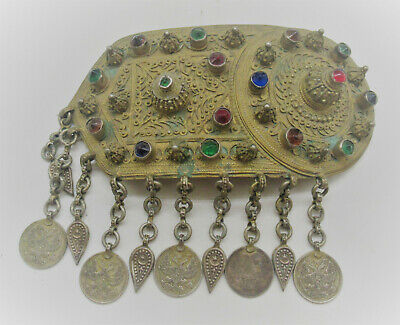 Beautiful Late Medieval Gilded Ottomans Belt Buckle Plate With Stones