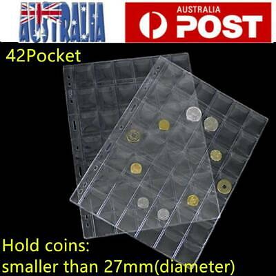 10pcs 42 Pockets Coin Holders Folder Pages Sheets For Collection Album Storage
