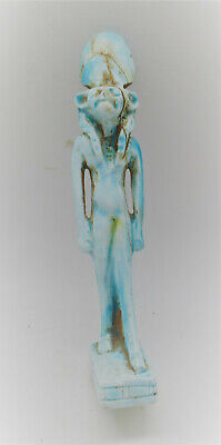 Beautiful Vintage Egyptian Glazed Faience Sehkmet Statuette
