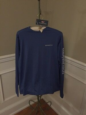 NWT Vineyard Vines Moonshine Blue LS Performance Vented Boating T YOUTH Size XL