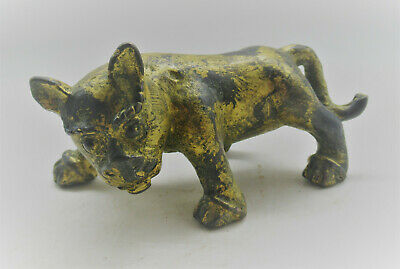 Beautiful Ancient Roman Near Eastern Bronze Animal Statue With Gold Gilt