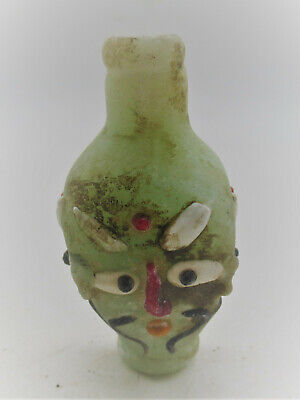 Ancient Phoenician Glass Bottle With Male Face Very Interesting