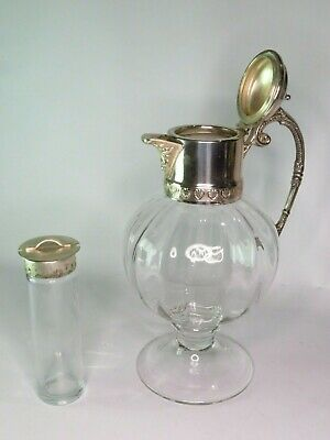 Vintage Globe Shaped Glass & Silver Plate Claret Wine Jug with Cooling Tube