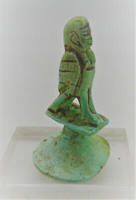Superb Ancient Egyptian Glazed Faience Seal With Heiroglyphics