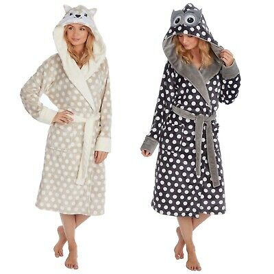 Ladies dressing gown robe nightwear hooded soft novelty fleece