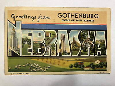 Postcard NE Lg. Letters Greetings From Gothenburg Home Of The Pony Express C53