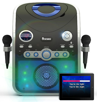 Bluetooth Karaoke Machine with Party Lights & 240 CDG SONGS & 2 MICROPHONES