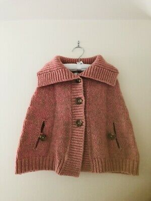 Girls Winter Cape-  Size 6-  Country Road-  100% Knitted LambsWool-  Almost New!