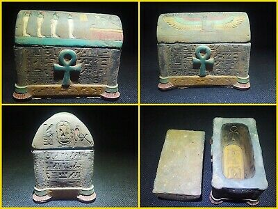 EGYPTIAN ANTIQUE ANTIQUITY Lided Stone Sarcophagus Coffin Tomb 1549-1084 BC
