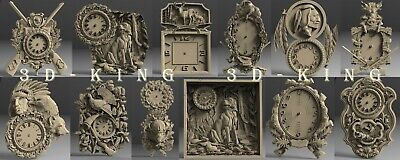 9 Pcs 3D STL Model # WALL CLOCKS HUNTING THEME# for CNC Engraver Carving Artcam
