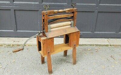 1899 Patent Lovell Mfg Model 791 ANCHOR BRAND Clothes Wringer on Homemade Stand