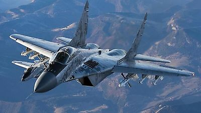 """MiG 29 fighter jet military russian airplane front view  Mini Poster 24"""" x 16"""""""
