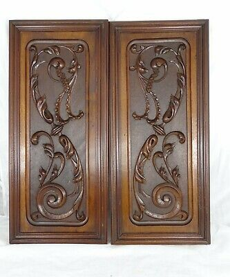 Antique French Hand Carved Walnut Wood Pair Panel Wall PlaqueRegence Style