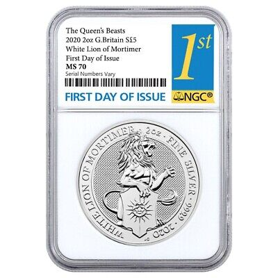 2020 GB 2 oz Silver Queen's Beasts White Lion of Mortimer Coin NGC MS 70 FDOI