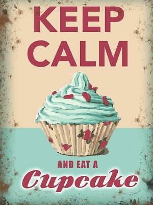 Vintage Metal Sign Plaque Keep Calm Eat A Cupcake Kitchen Bakery Tea Shop Decor